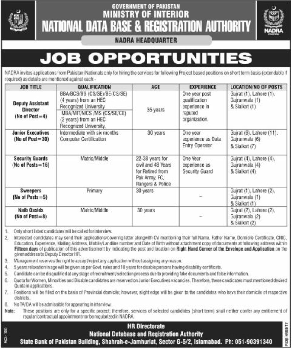 NADRA new job in Islamabad 2018