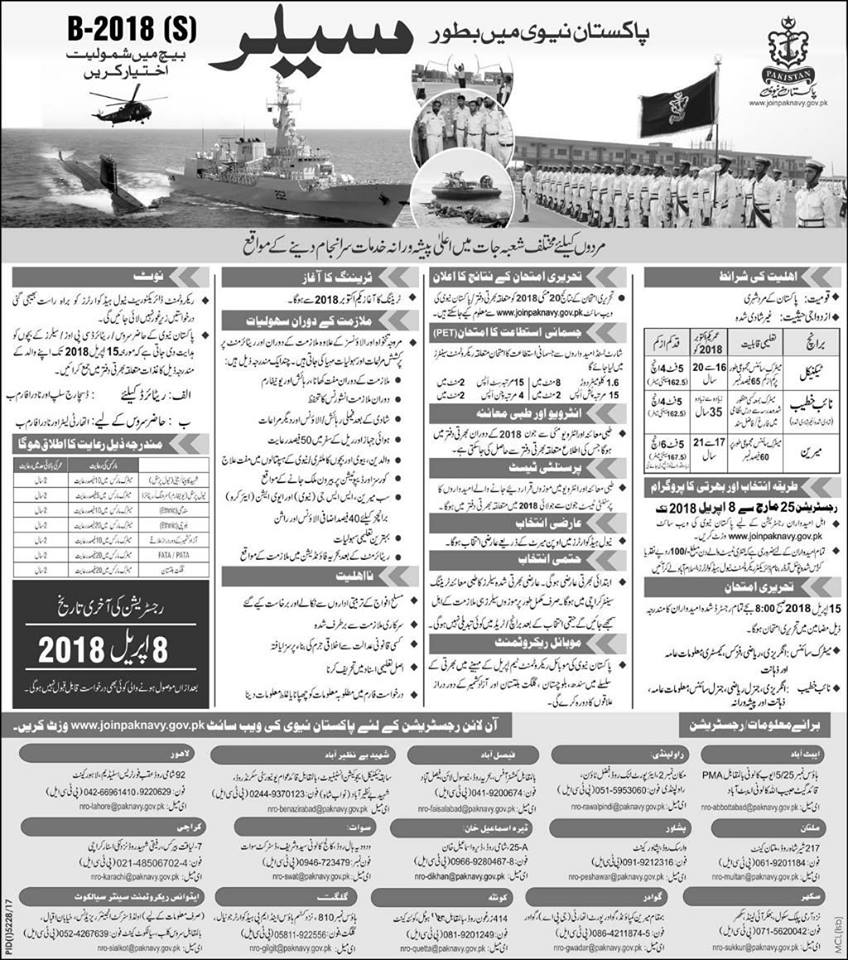 Pakistan Navy Sailor jobs 2018