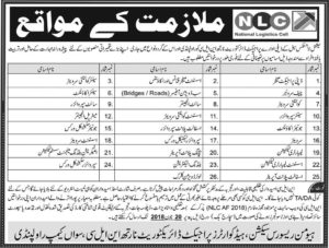 National Logistics Cell Jobs 2018