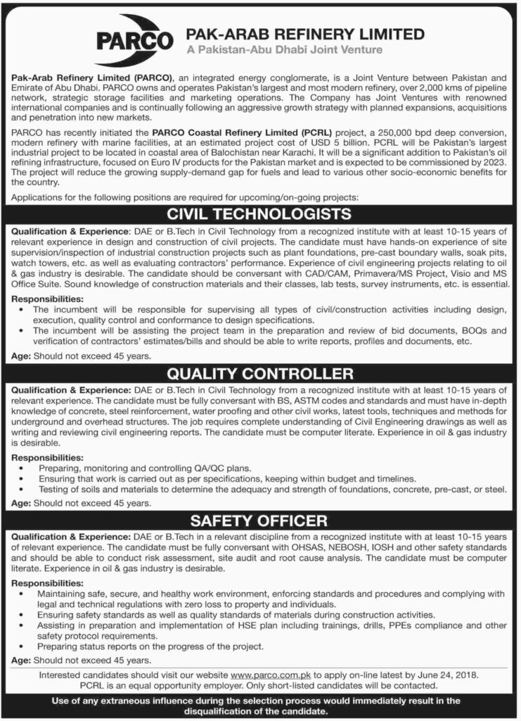 Pak Arab Refinery Limited Jobs