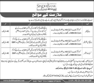 Sindh Bank Limited Jobs