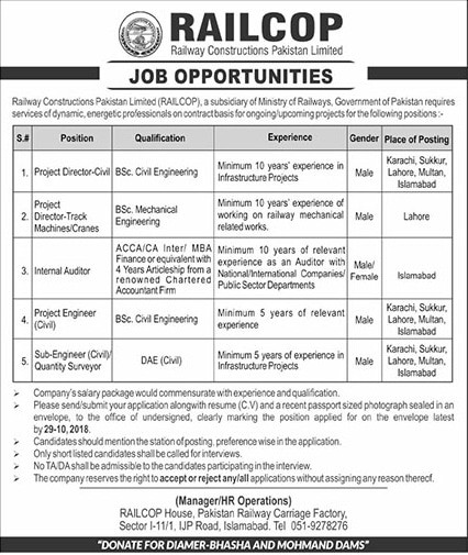 Pakistan Railway Construction Jobs