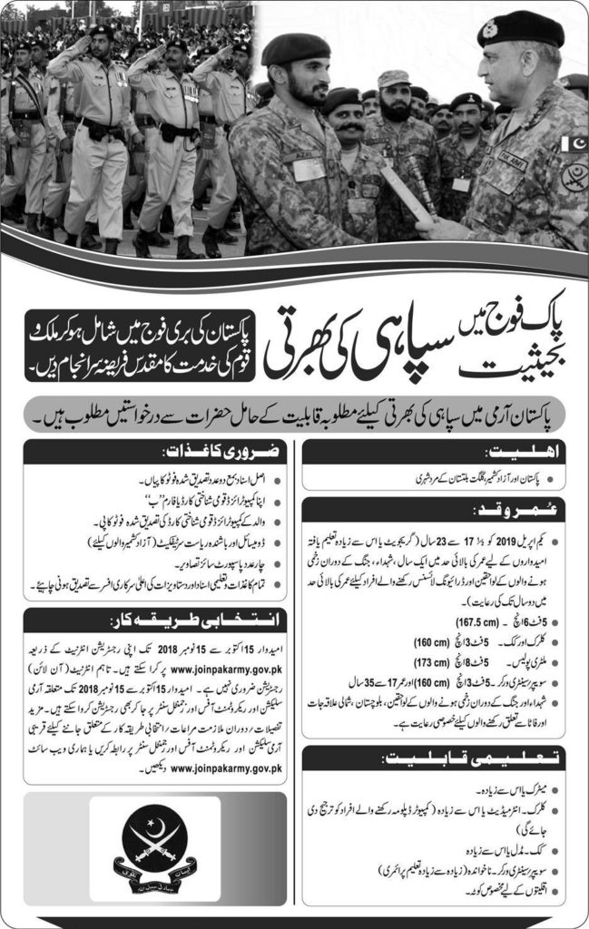 Join Pak Army as Soldier 2018