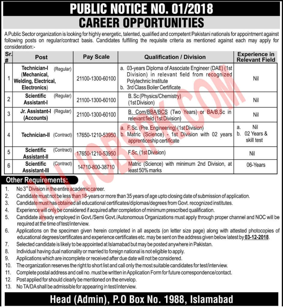 PO Box 1988 Islamabad Jobs