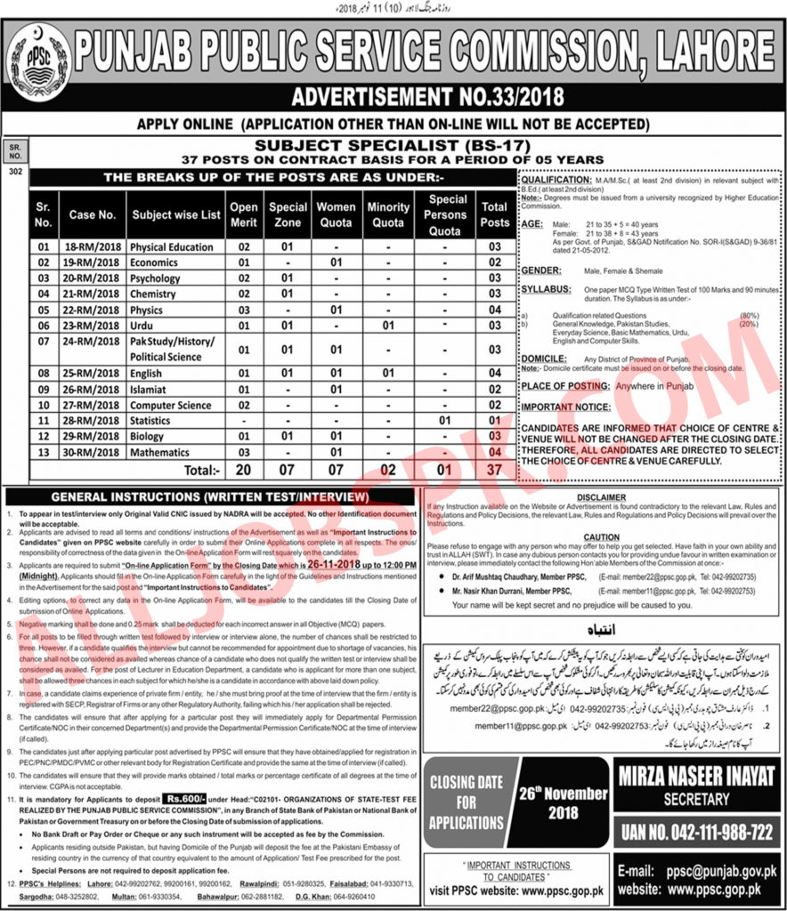 Subject specialist PPSC Jobs 2018