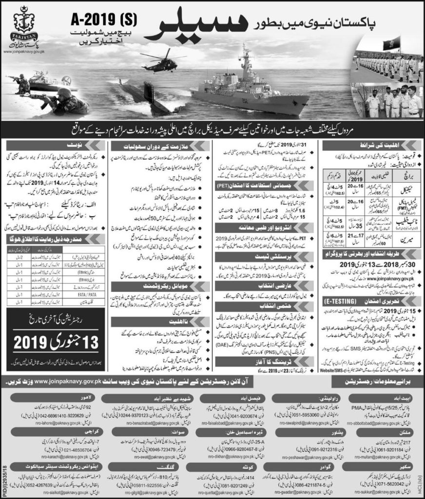 Pakistan Navy Sailor jobs