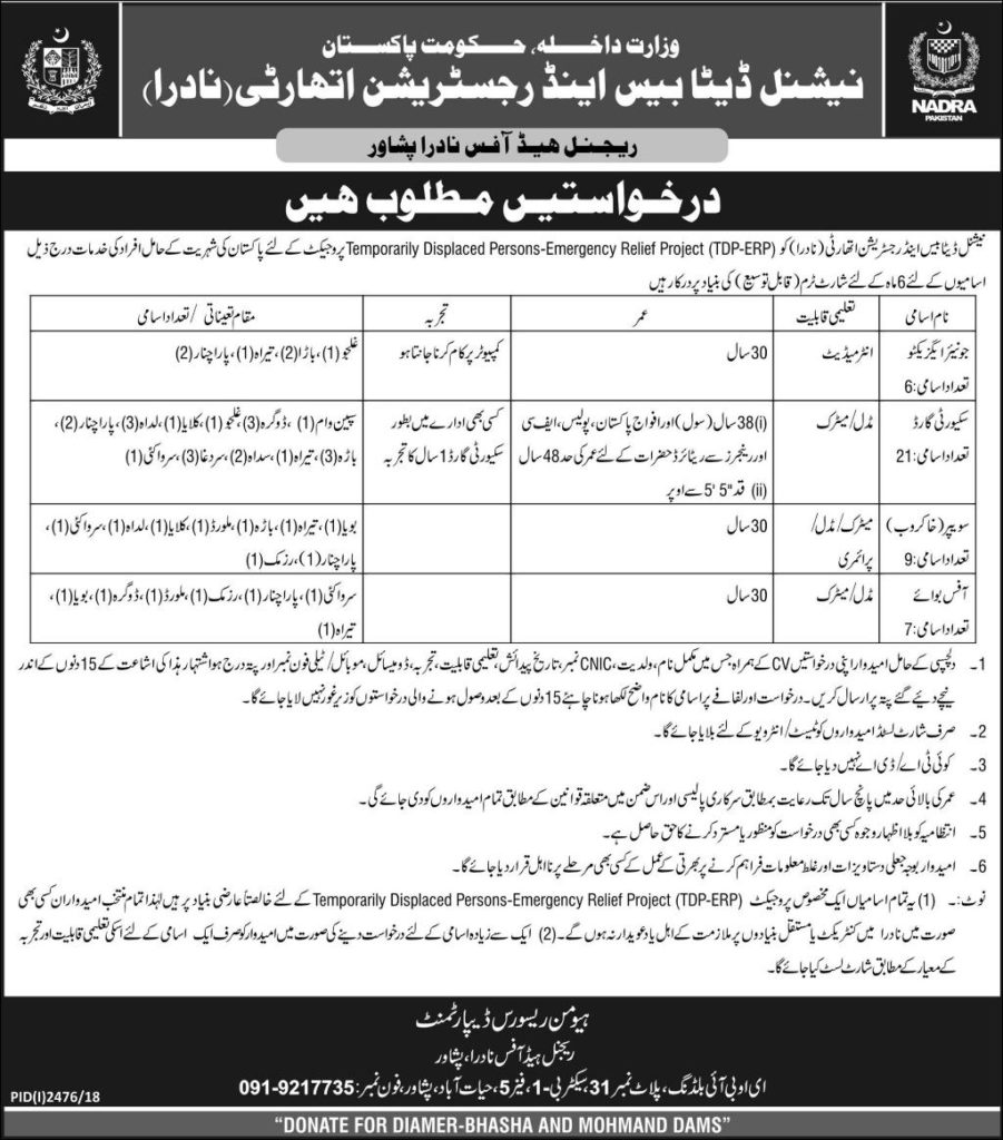 NADRA Jobs in Peshawar