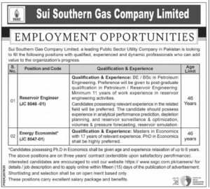 Sui Southern Gas Jobs 2021 Apply Online Latest advertisement