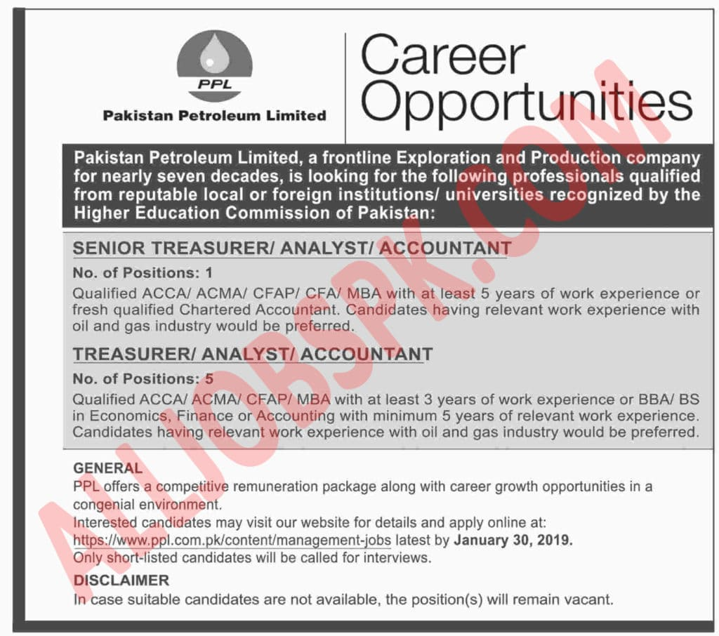 Pakistan Petroleum Limited Jobs