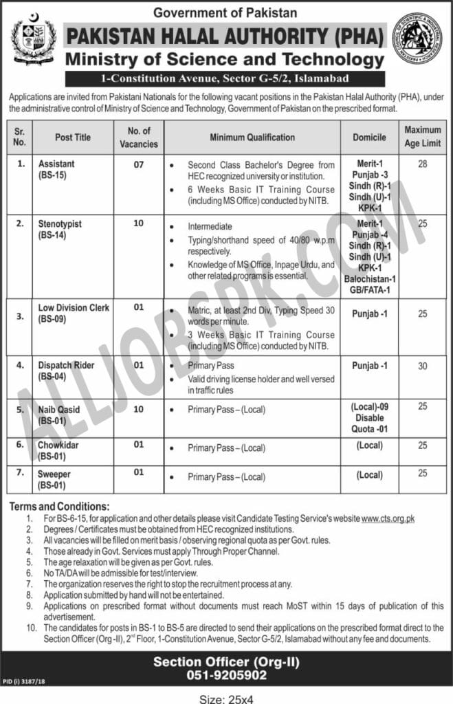 Pakistan Halal Authority Jobs 2019