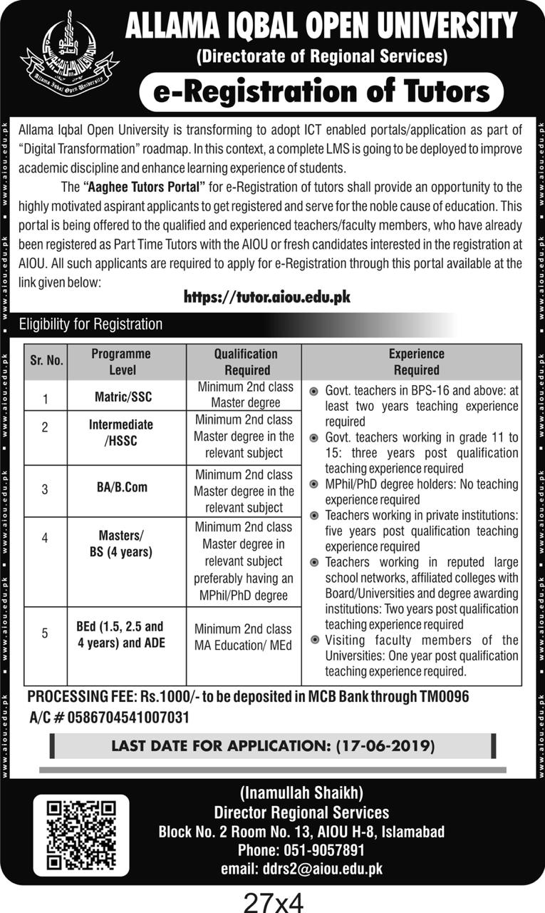 AIOU Tutors Jobs