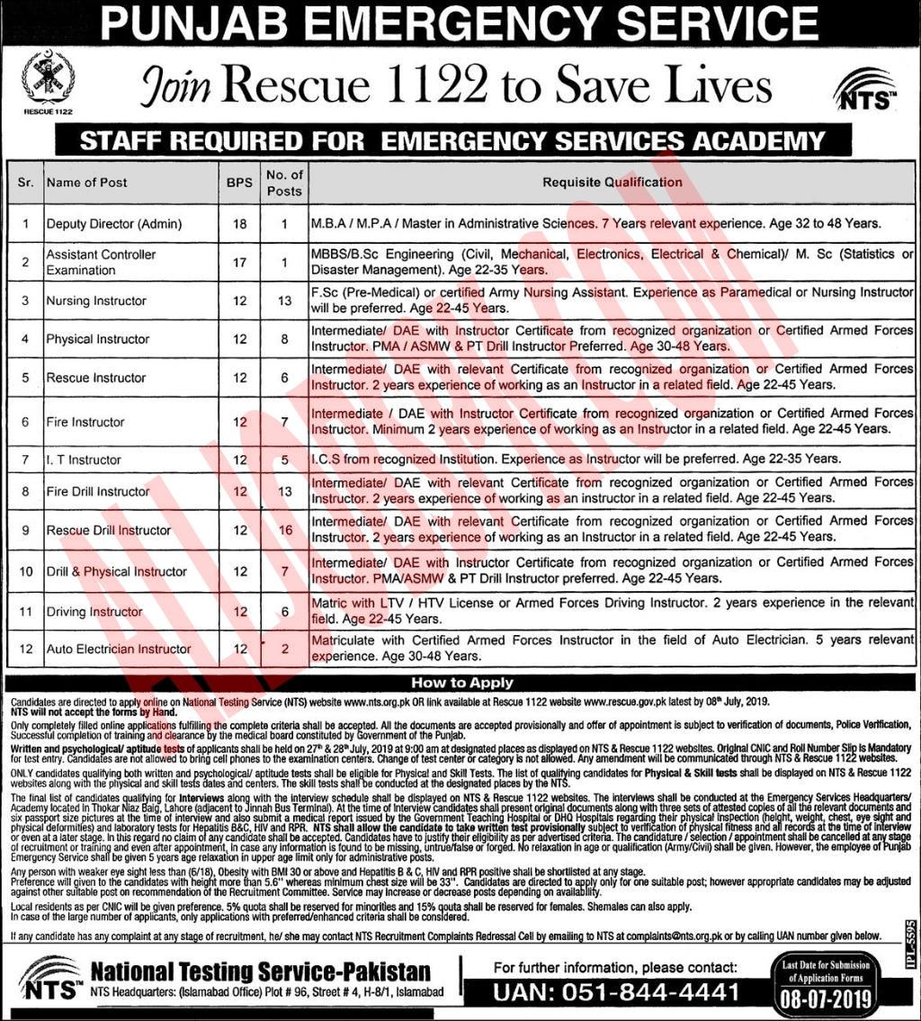 Rescue 1122 Academy Jobs