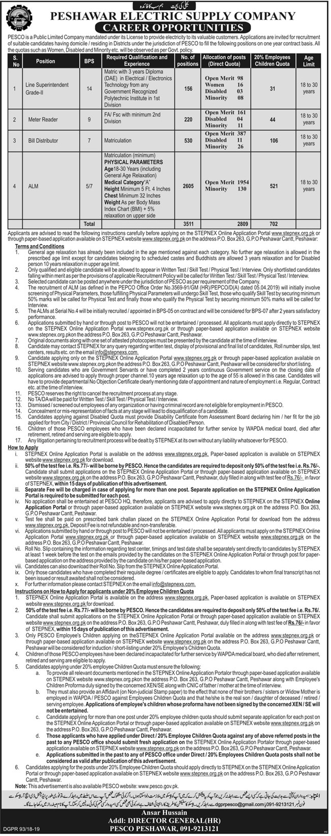 Peshawar Electric Supply Company Jobs