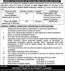 Healthcare Department Punjab Jobs 2021 District Health Authority Lahore