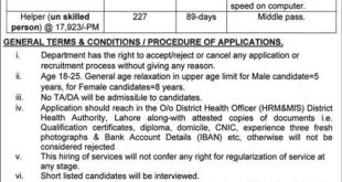 Healthcare Department Punjab Jobs 2021 District Health Authority Lahore