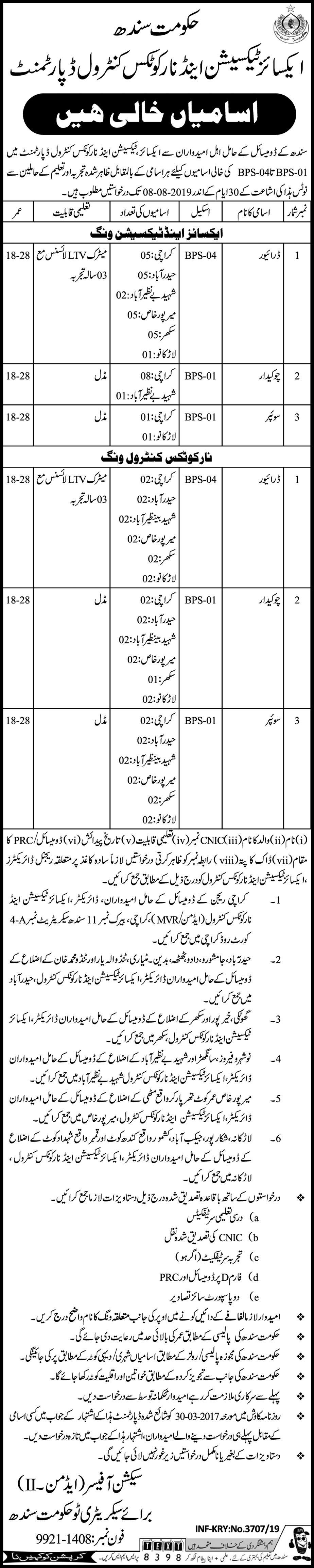 Excise Taxation and Narcotics Control Jobs