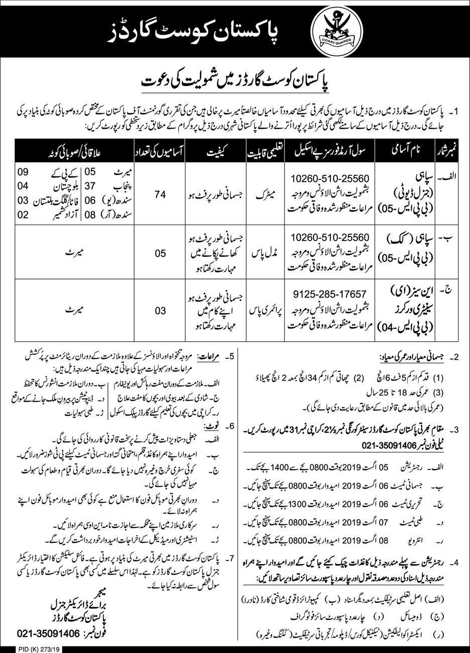 Pakistan Coast Guard Jobs