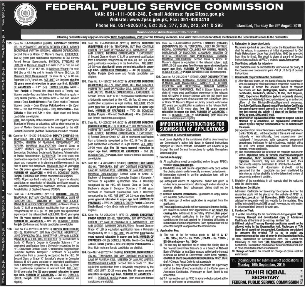 FPSC Jobs 2019