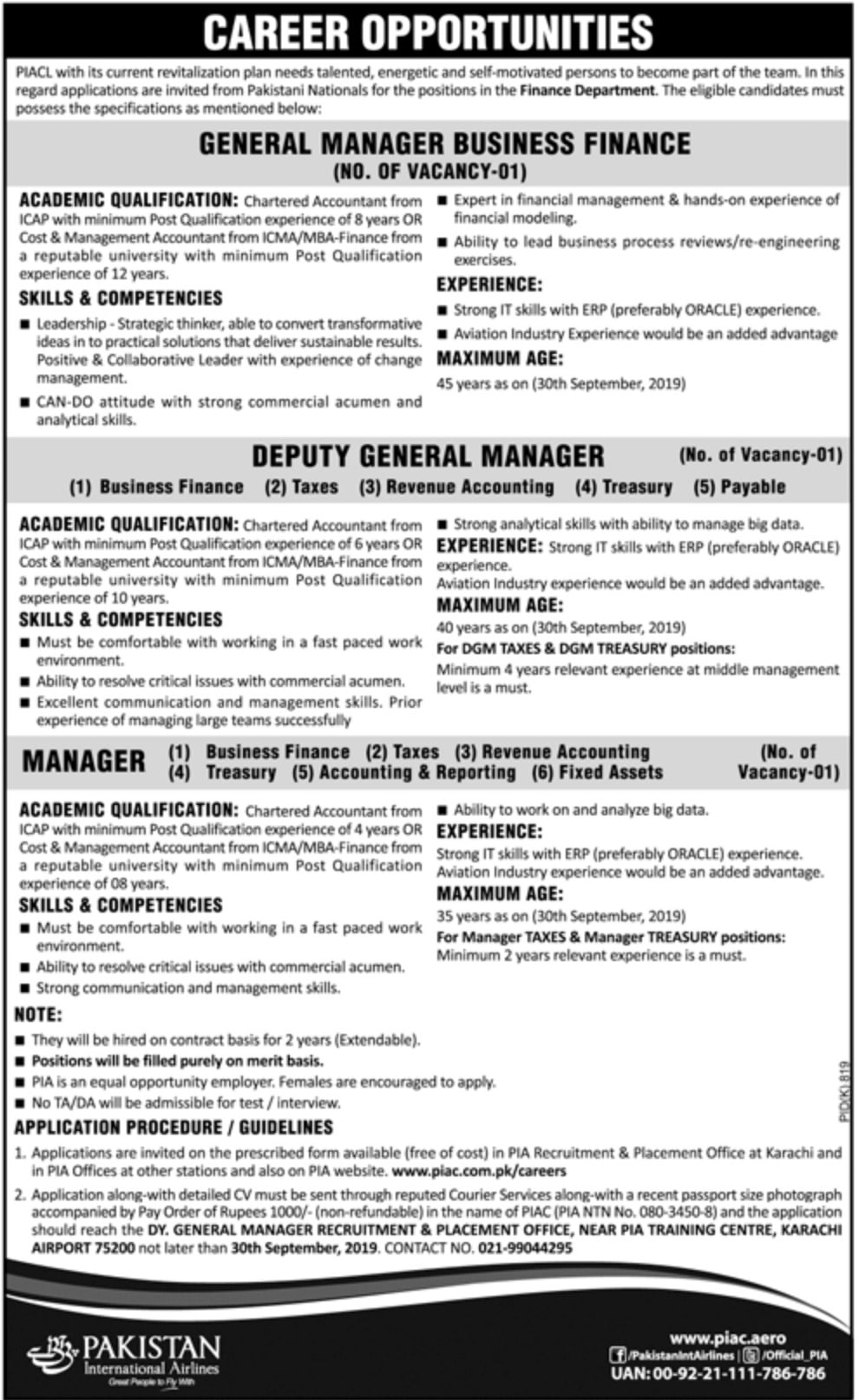 Pakistan International Airlines Jobs