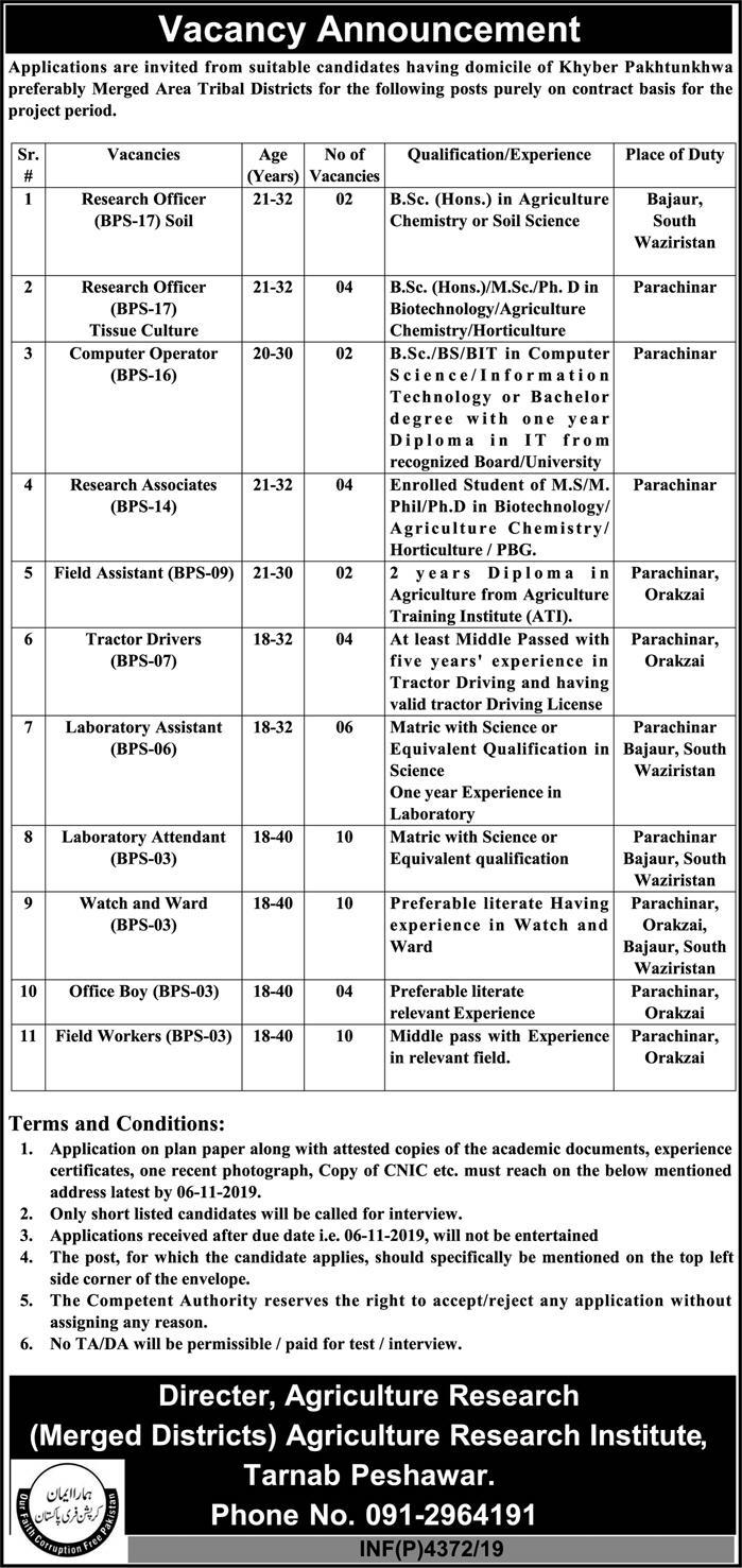 Agriculture Research Department Jobs