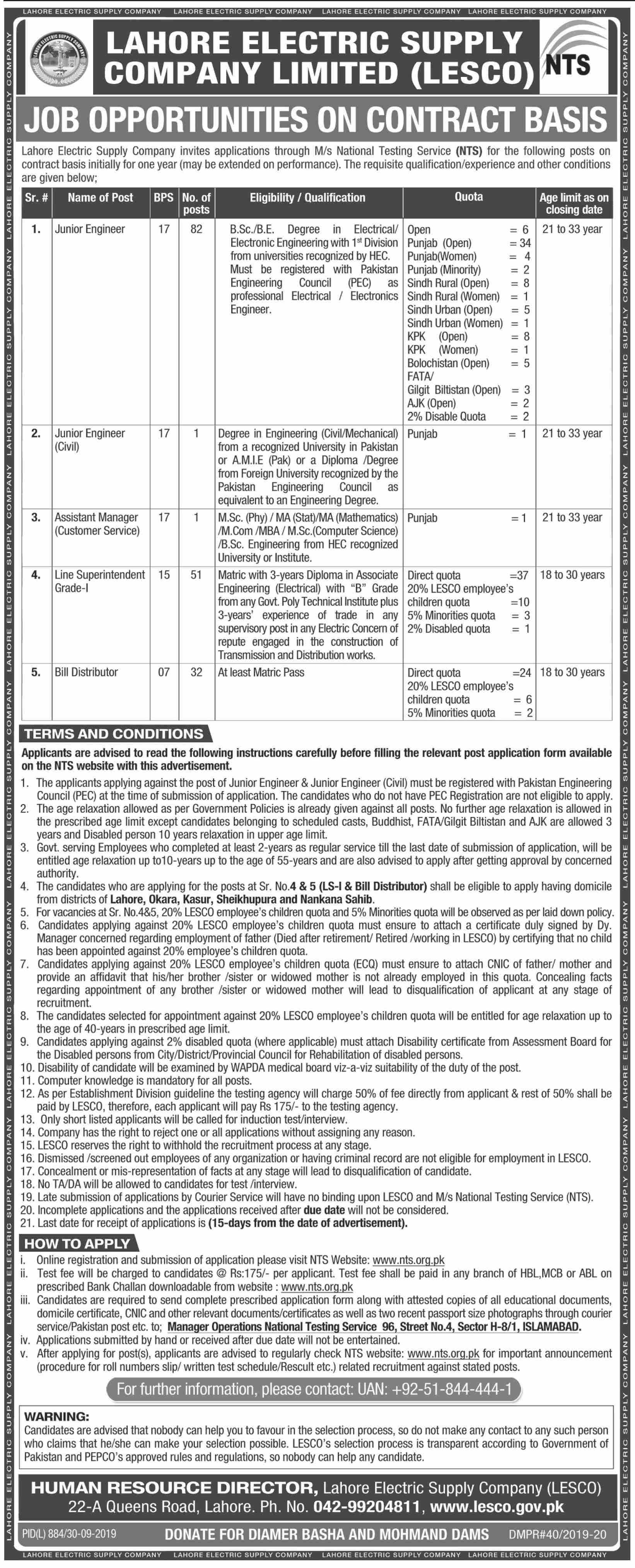 WAPDA LESCO Jobs
