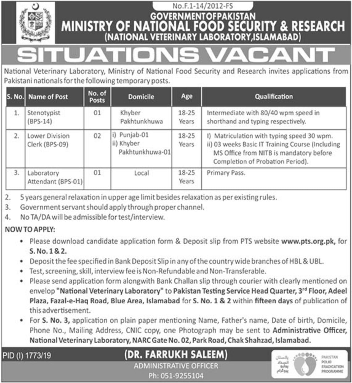 Ministry Of National Food Jobs