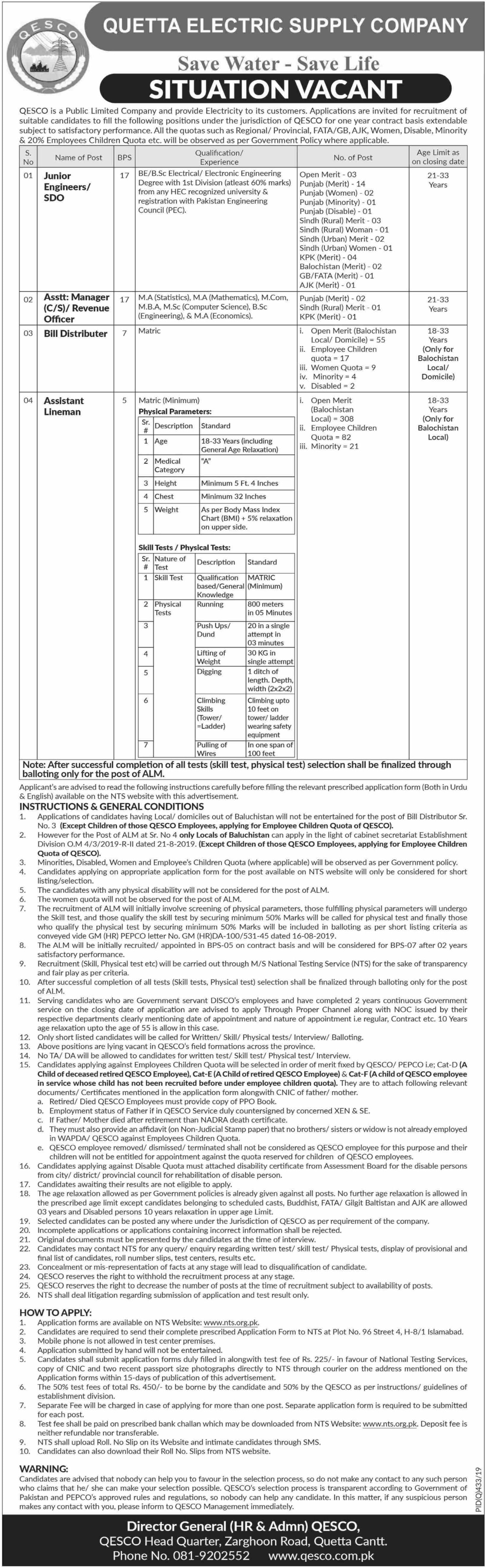 QESCO WAPDA Jobs
