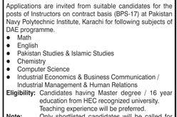 Pakistan Navy Jobs 2021 For Instructors