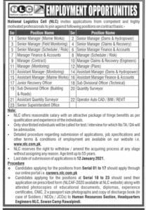 Jobs in National Logistics Cell NLC 2021 Free Online Apply