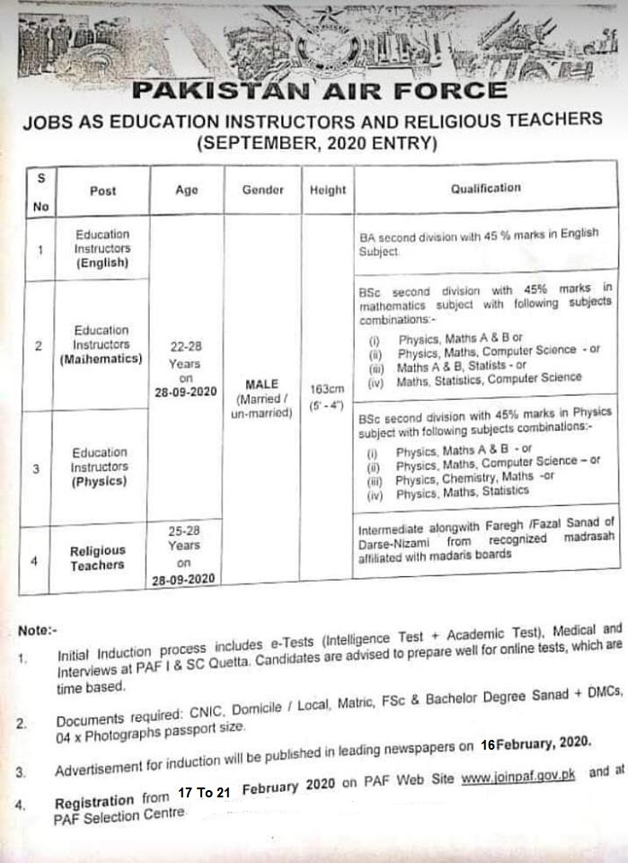 Pakistan Air Force Teacher jobs