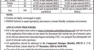 Health Department Jobs 2020 Punjab for LHV & Aya