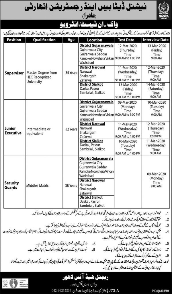 NADRA Jobs in Lahore