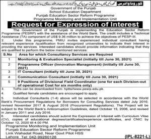 Punjab Education Sector Reform Programme PESRP Jobs