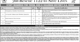 Rescue 1122 Jobs 2020 EMT & Driver Latest Advertisement