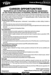 FBR Federal Board of Revenue Jobs 2020