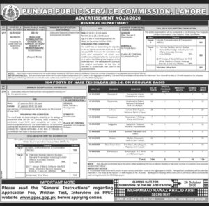 Tehsildar and Naib Tehsildar Jobs Latest PPSC Jobs 2020