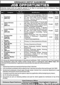Pakistan Army Ordnance Depot Jobs 2021 Kashmore