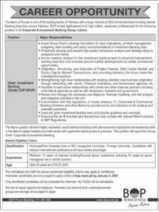 The Bank of Punjab BOP Jobs 2020 Latest Advertisement