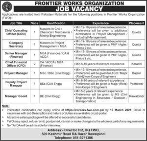 Frontier works Organization FWO Job 2021 Latest Advertisement