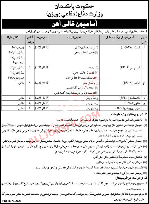 Jobs in Ministry of Defenc 2021