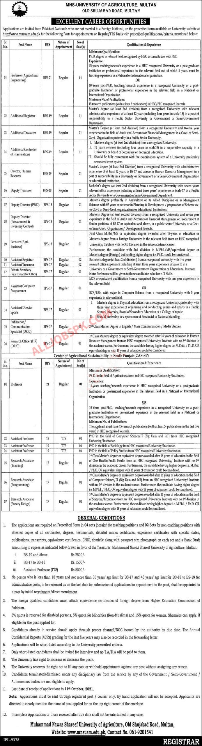 Job in University of Agriculture